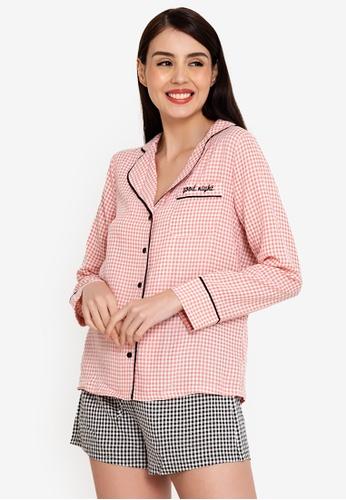ZALORA BASICS 多色 Lounge Contrast Flannel Pyjama Shirt FC2D0AA43EA857GS_1