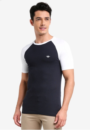 River Island navy Pique Raglan T-Shirt 61ADEAAC401955GS_1