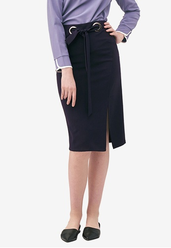 Kodz navy Tie Detail Slit Hem Skirt 08022AA56102BBGS_1