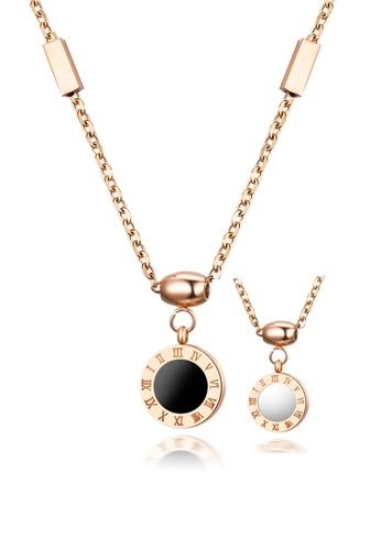 CELOVIS black and white and gold CELOVIS - Emma Round Roman Numeral Reversible Pendant Necklace 87DC2ACA8EE2D9GS_1