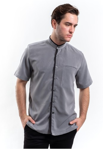 MANLY grey Manly Midwest Grey Short Sleeve Slim Fit Shirt with Shanghai Collar 27066AA451F026GS_1