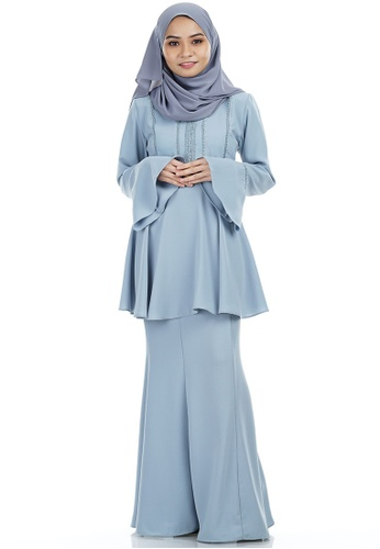Kayla Kurung with Frill Peplum from Ashura in White and Blue