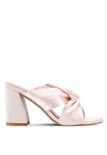 Public Desire 粉紅色 綢緞結飾粗跟涼鞋 2F153SH1880CF7GS_1