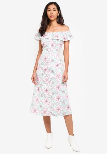 Glamorous multi Off Shoulder Printed Midi Dress 2A8C7AA5030B57GS_1