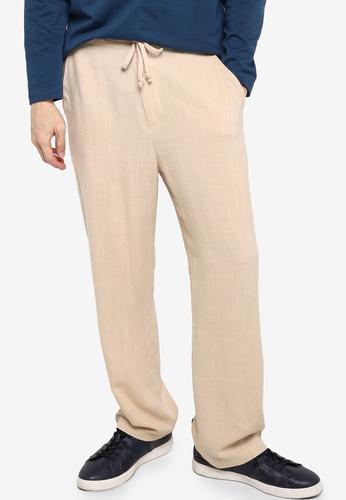 ZALORA BASICS beige Linen Blend Drawstring Pants F01D6AA44A0231GS_1