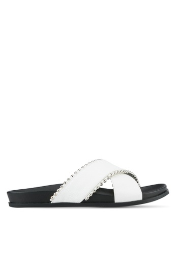 Something Borrowed black and white Crossover Footbed Sandals 9EDF3SHC08C354GS_1