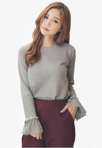 YOCO grey Pearl Detail Sweater 7C100AA0FC5279GS_1