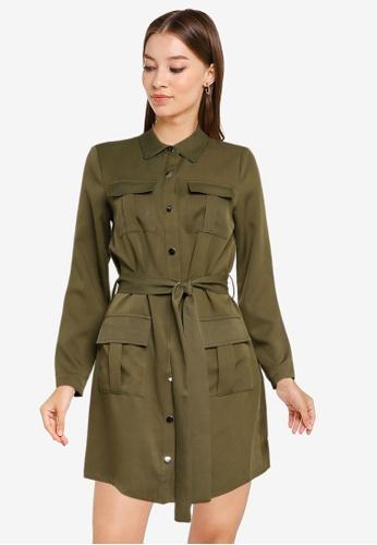 ZALORA WORK green Patch Pocket Detail Utility Dress BDE06AA7E5D377GS_1