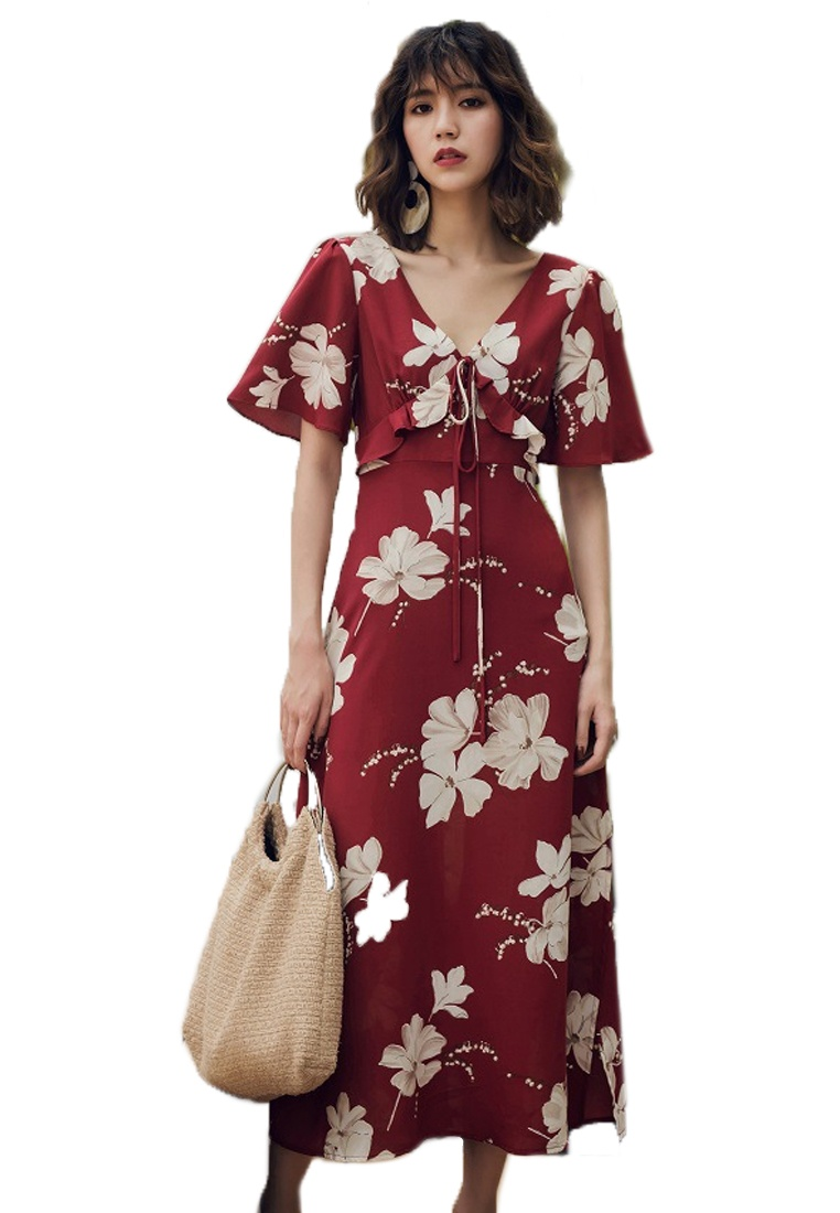 Sunnydaysweety Red 2018 One Floral Red Dress Long A061218 Piece New wzWzxcn8