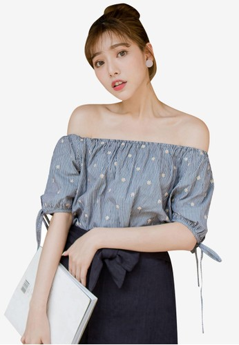 Tokichoi black Flower Striped Off Shoulder Top 4E155AA2B46A09GS_1