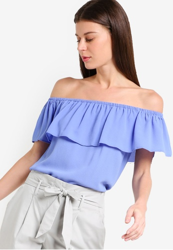 Dorothy Perkins blue Petite Blue Ruched Bardot Top DO816AA21PNEMY_1