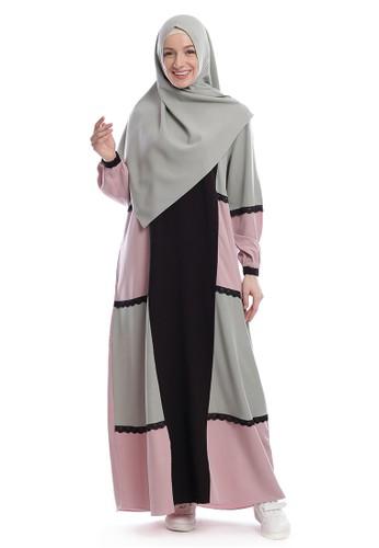 Yanna Azwar green Umairah Dress Set Hijab-Pink Green 55938AA9735AFDGS_1
