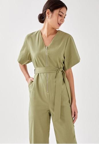 Love, Bonito green Magdalene Flare Sleeve Tailored Jumpsuit 5180BAA679E669GS_1