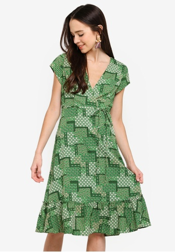 SOMETHING BORROWED white and green Ruffles Hem Midi Wrap Dress 1ADC4AA909F4B9GS_1