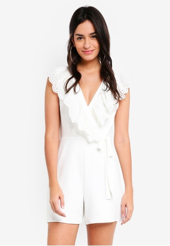 TOPSHOP white Broderie Playsuit 270BAAABA25A48GS_1