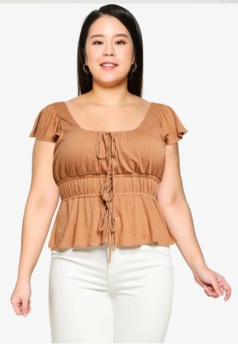 Violeta by MANGO brown Plus Size Gathered Waist T-Shirt F338EAAEECB695GS_1