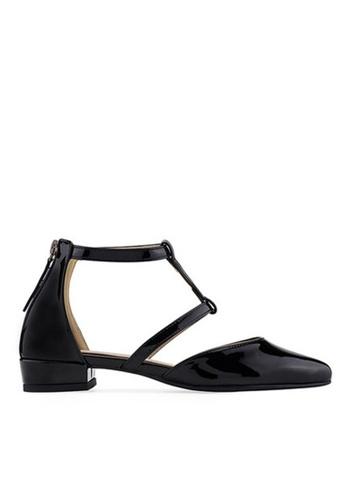 SPUR black Ankle T Strap Flats 42357SH3B31542GS_1