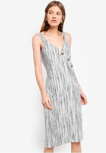 TOPSHOP white Stripe Assymetric Button Dress E3762AADC82D55GS_1