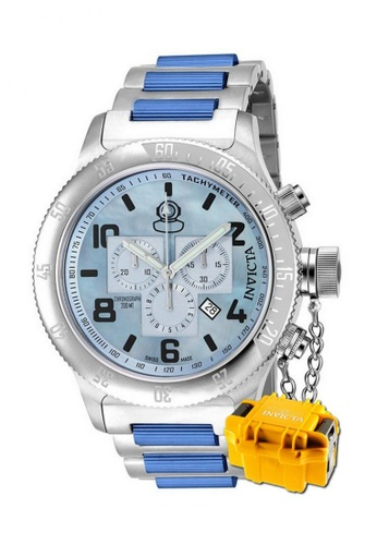 INVICTA silver Invicta Russian Diver Men Swiss Quartz Chronograph 52mm Stainless Steel Watch 15478 with  Impact Case 80FF1AC4496840GS_1