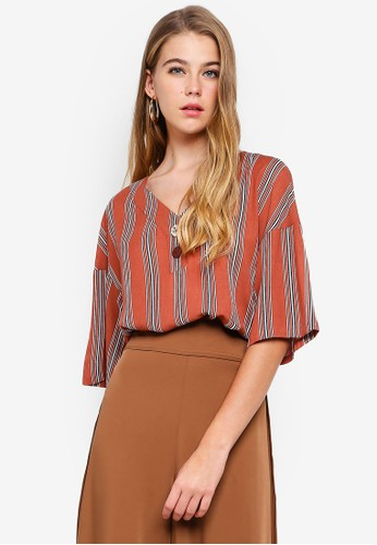 bYSI multi and brown V-Neck Button Stripe Top 55572AA2D3FEECGS_1