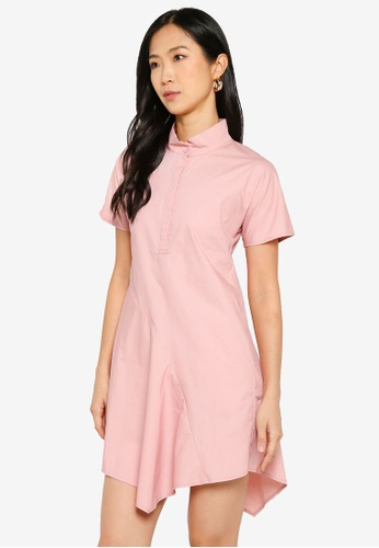 ZALORA BASICS 粉紅色 Stripe Cotton Shirtdress 986AFAA4E06CA5GS_1