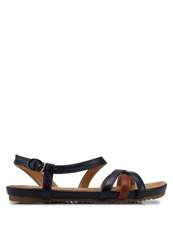 Mimosa blue and brown Crossover Strap Sandals D12F6SHC1447D0GS_1