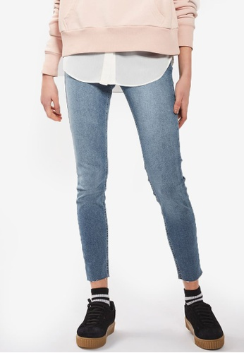 TOPSHOP 藍色 Moto Blue Raw Hem Jamie Jeans TO412AA21NFQMY_1