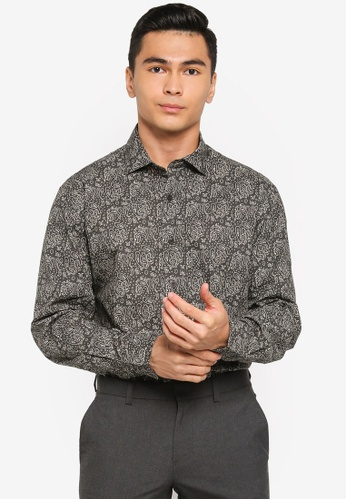 Sacoor Brothers brown Slim fit 100% cotton printed shirt CA02EAA57FB456GS_1