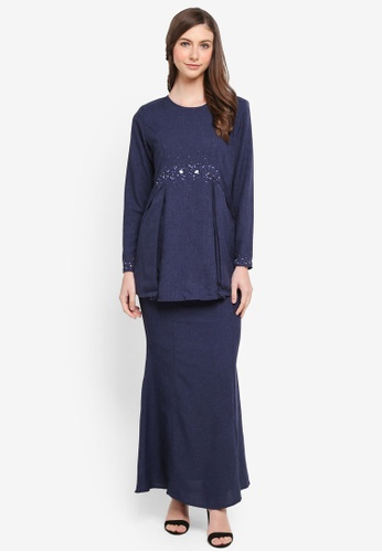 peace collections blue Embellished Kurung Modern BC30CAAB221D3FGS_1