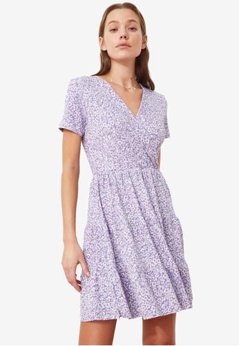 Trendyol purple V-Neck Floral Pattern Dress FC132AA14C12C7GS_1