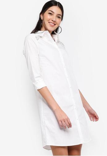 ZALORA white Lace Panel Shirt Dress C1492AAC17F806GS_1