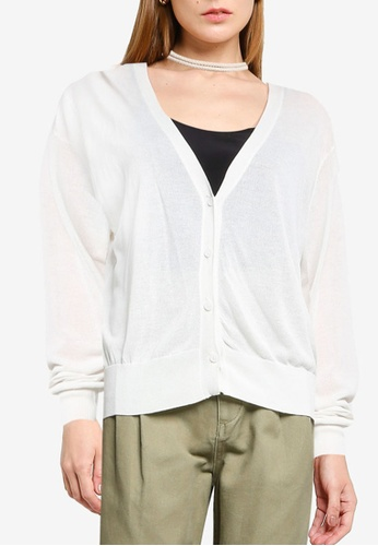 LOWRYS FARM white Sheer Buttoned Cardigan 7B1C2AAD8C552AGS_1