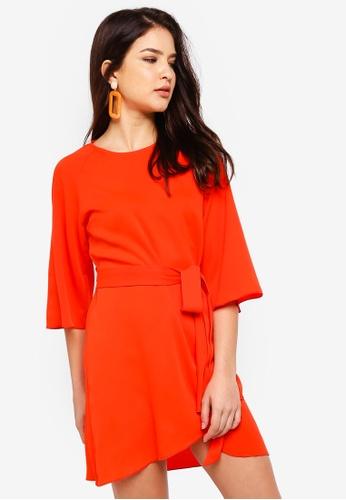 ZALORA orange Flare Sleeves Tie Front Dress 6B1DBAA07E816EGS_1
