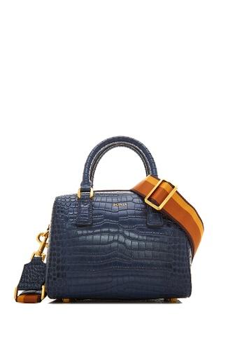 BONIA blue Dark Blue NR Croco Luxe Satchel F04B4AC4E0E1ACGS_1