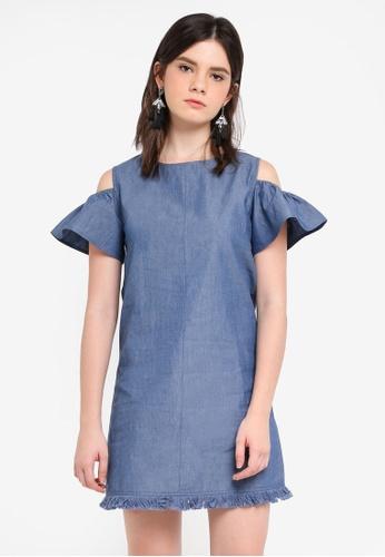 ZALORA blue Cold Shoulder Shift Dress 3659EAA8F3298BGS_1
