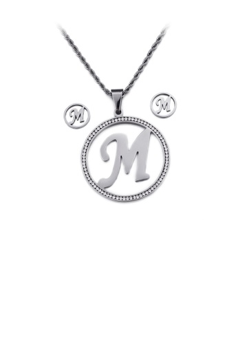 Glamorousky white Fashion Personality English Alphabet M Geometric Round 316L Stainless Steel Necklace and Stud Earrings Set with Cubic Zirconia 01E0BACA4DB131GS_1