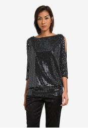 Wallis silver Silver Sequin Cold Shoulder Top WA800AA0SACGMY_1