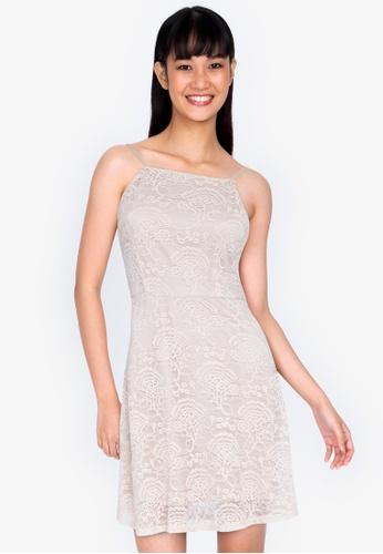 ZALORA BASICS beige Square Neck Cami Fit & Flare Lace Dress 8A330AAB9FF8B5GS_1