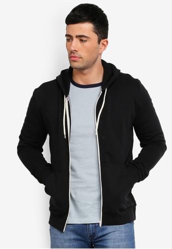 Brave Soul black Zip Through Hooded Sweatshirt C1524AABB7A850GS_1