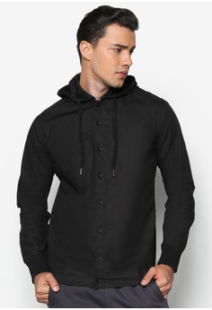 Long Sleeve Shirt With Detachable Mesh Hoodie