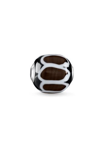 "THOMAS SABO silver Bead ""Glass Bead Black, white"" E525EAC6B8D924GS_1"
