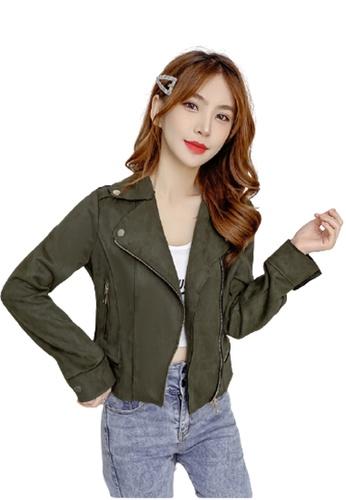 Halo 綠色 短身修腰麂皮外套 C86ADAAB40A74DGS_1