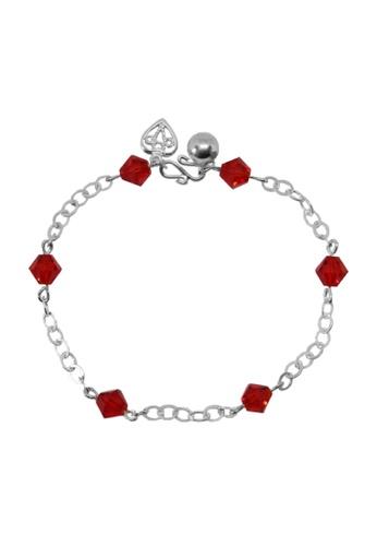 Elfi silver Elfi 925 Genuine Silver Red Gemstone Beads Bracelet SB-37M 0D179AC418DB6CGS_1