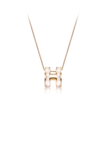 Glamorousky silver 925 Sterling Silver Plated Gold Simple Letter H Pendant with Necklace 178E0AC77B923CGS_1