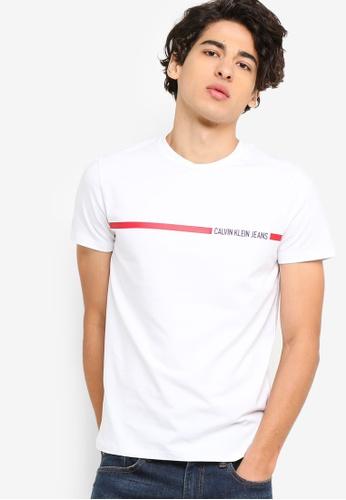 Calvin Klein 白色 短袖Fashion LOGO修身T恤 - Calvin Klein 牛仔褲 47CECAA5C634C7GS_1