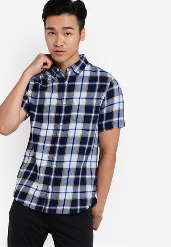 Burton Menswear London navy Indigo Short Sleeve Check Shirt BU964AA90QZXMY_1