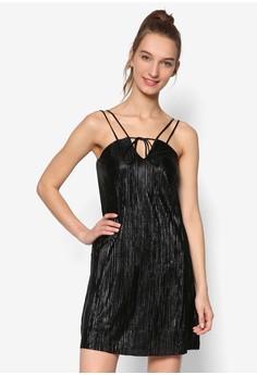 起褶吊帶連身短裙