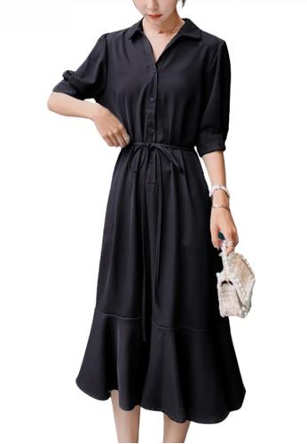 HAPPY FRIDAYS black Chic Puff Sleeve Flare Dress JW OP-NR112D 7F3FBAA4280D84GS_1