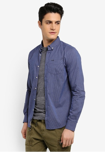 Superdry blue and navy Univsty Oxford Long Sleeve Shirt 765EAAAB9C8578GS_1