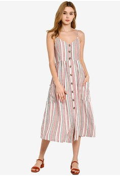 b30dfb50 27% OFF OVS Long Dress With Spaghetti Straps And Striped Pockets HK$ 479.00  NOW HK$ 348.90 Sizes 38 40 42 44 46